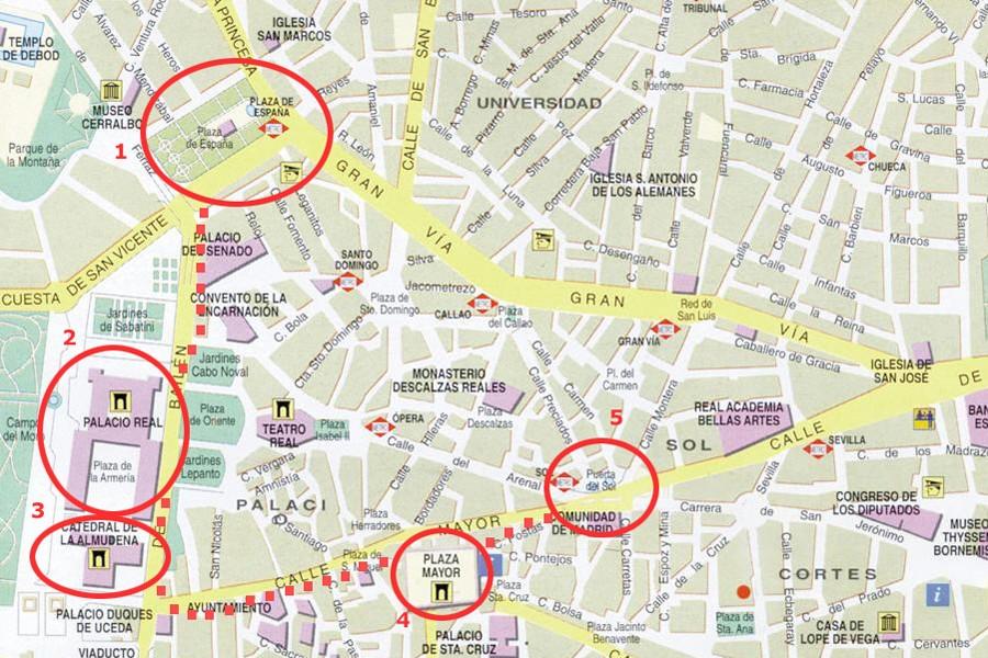 Карта Метро Мадрида С Достопримечательностями